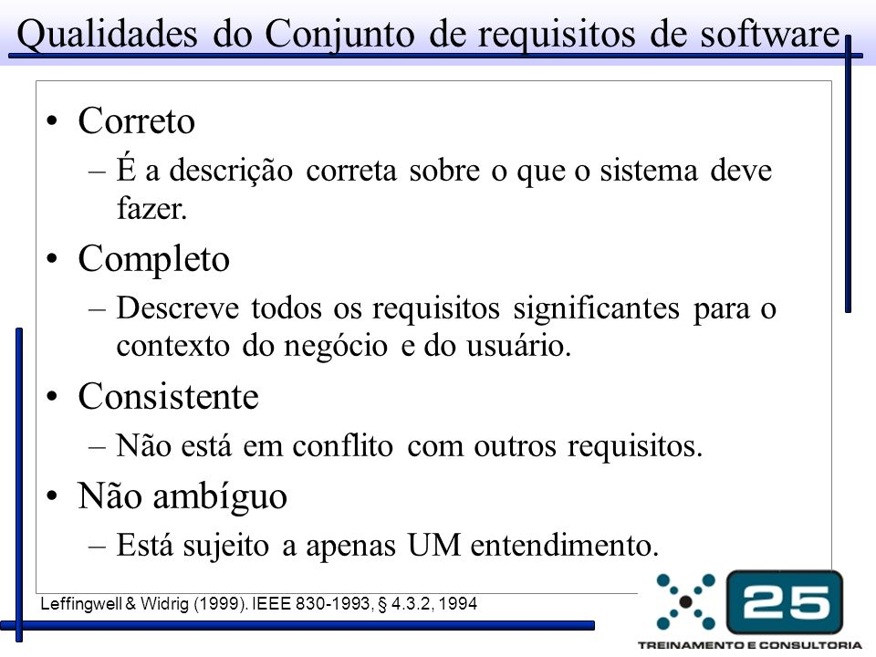 Qualidades do Conjunto de requisitos de software