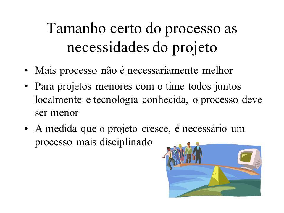 Tamanho certo do processo as necessidades do projeto