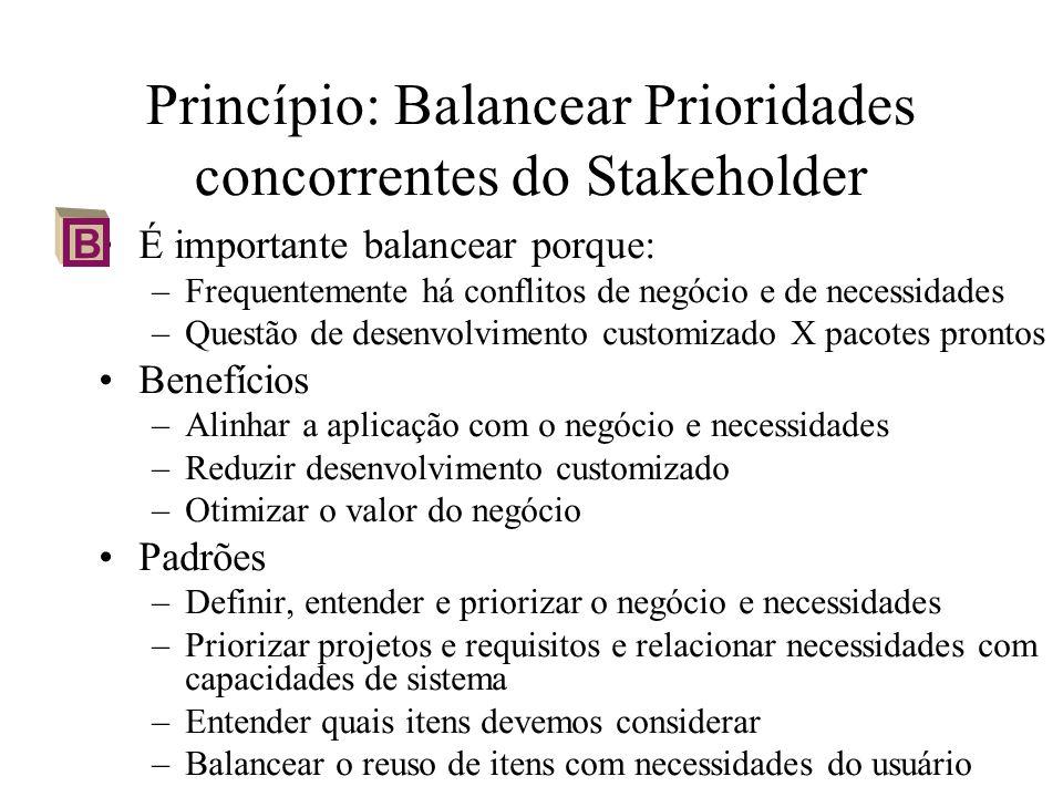 Princípio: Balancear Prioridades concorrentes do Stakeholder