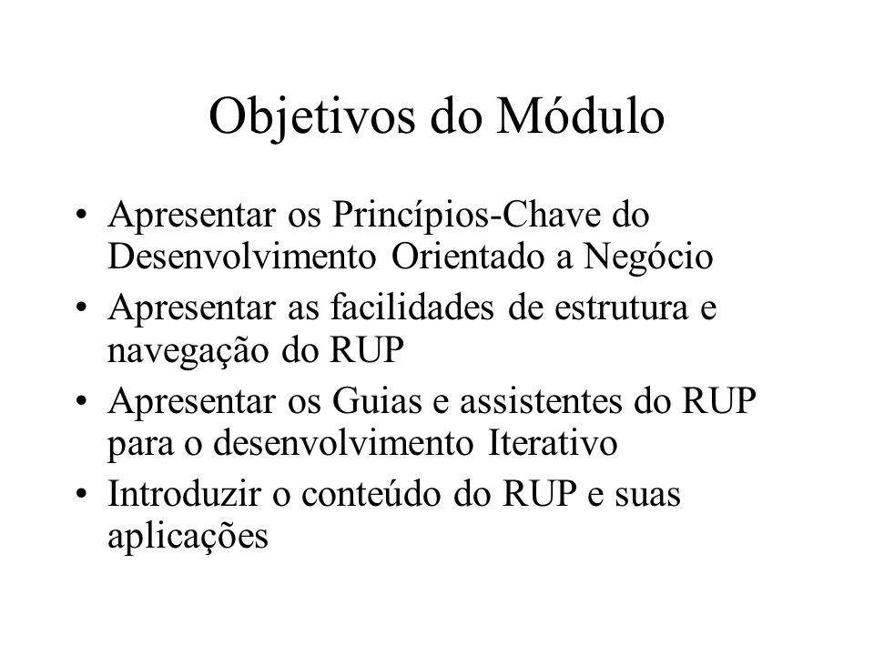Objetivos do Módulo Apresentar os Princípios-Chave do Desenvolvimento Orientado a Negócio. Apresentar as facilidades de estrutura e navegação do RUP.