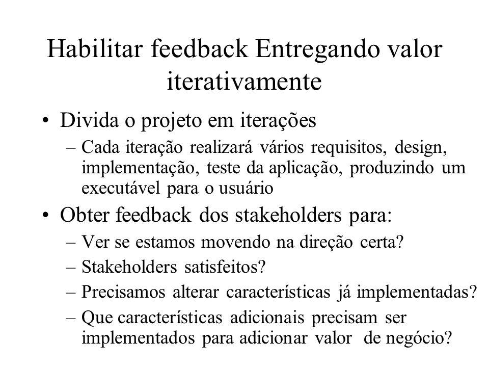 Habilitar feedback Entregando valor iterativamente