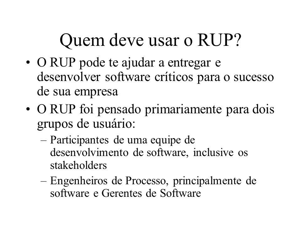 Quem deve usar o RUP O RUP pode te ajudar a entregar e desenvolver software críticos para o sucesso de sua empresa.