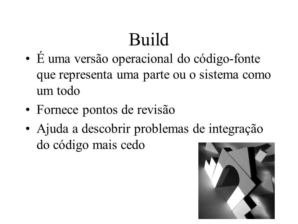 Build É uma versão operacional do código-fonte que representa uma parte ou o sistema como um todo. Fornece pontos de revisão.