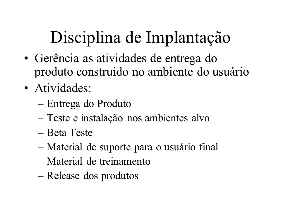 Disciplina de Implantação