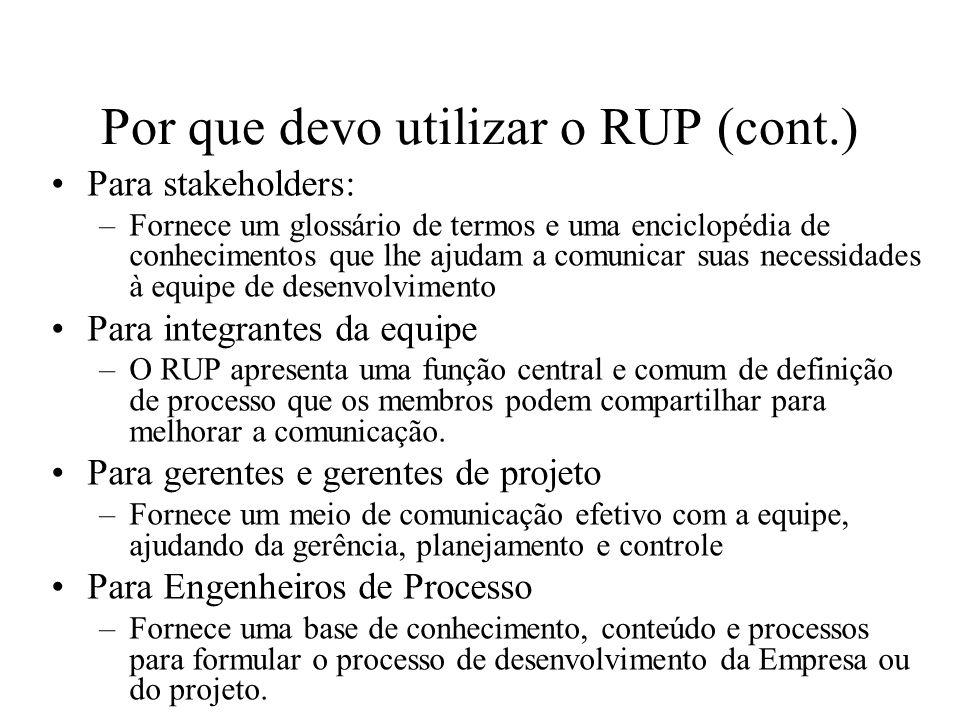 Por que devo utilizar o RUP (cont.)