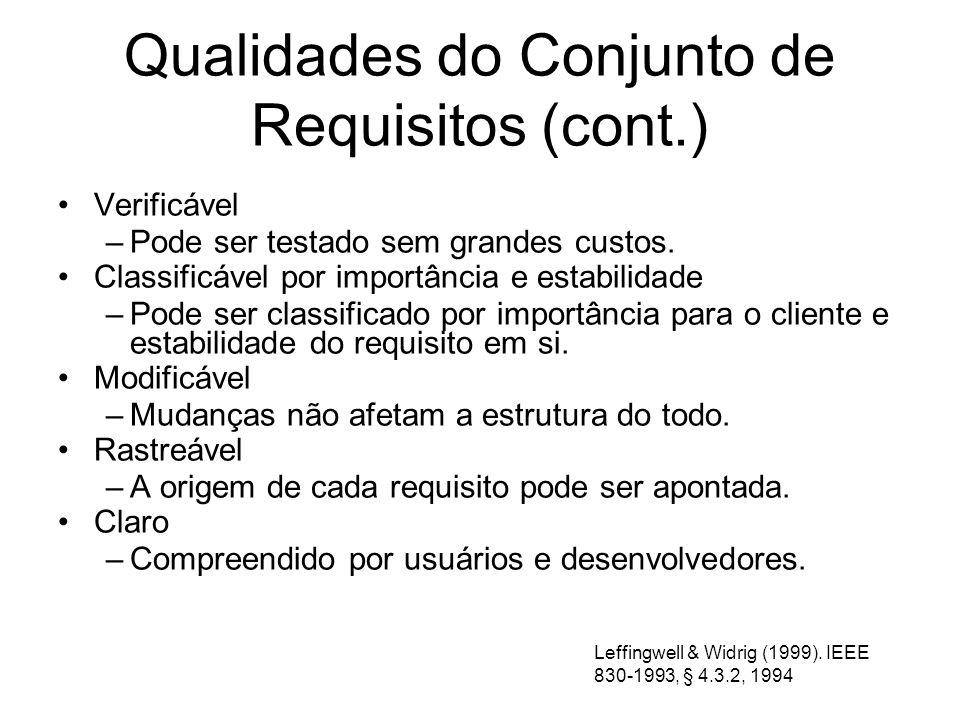 Qualidades do Conjunto de Requisitos (cont.)