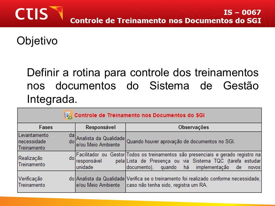 IS – 0067 Controle de Treinamento nos Documentos do SGI