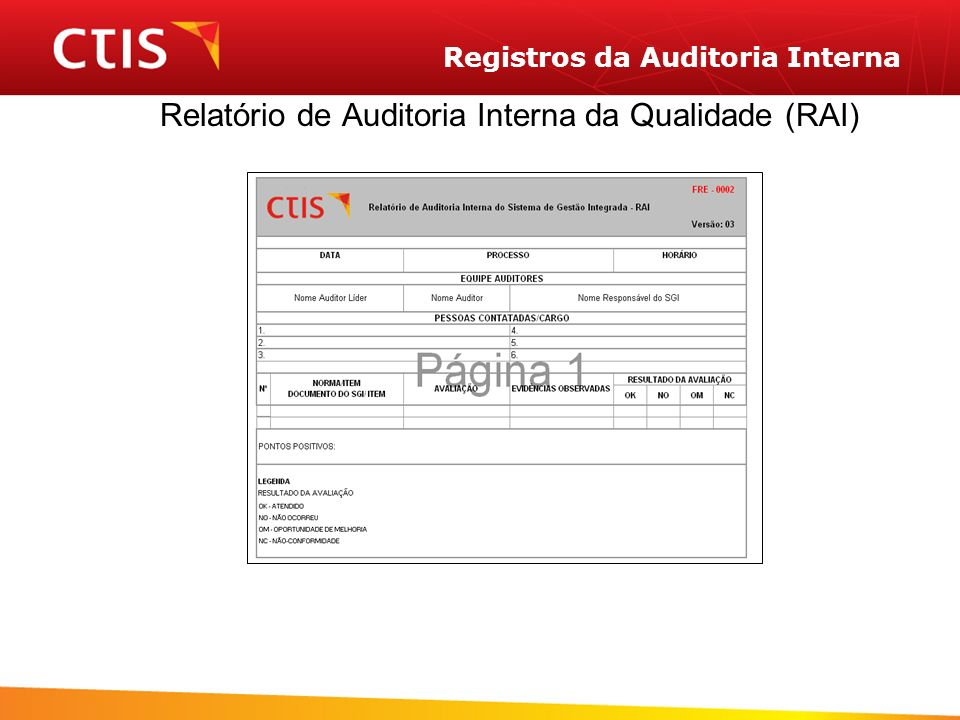 Registros da Auditoria Interna