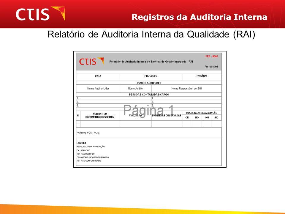 Registros da Auditoria Interna