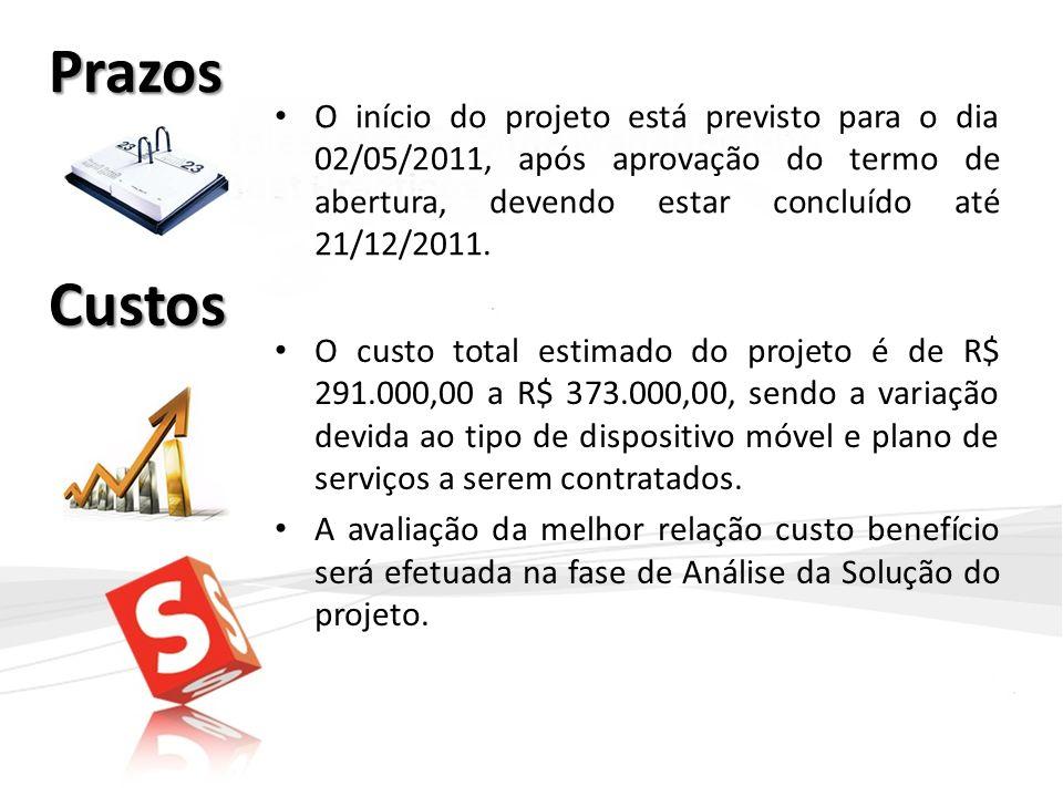 Prazos O início do projeto está previsto para o dia 02/05/2011, após aprovação do termo de abertura, devendo estar concluído até 21/12/2011.