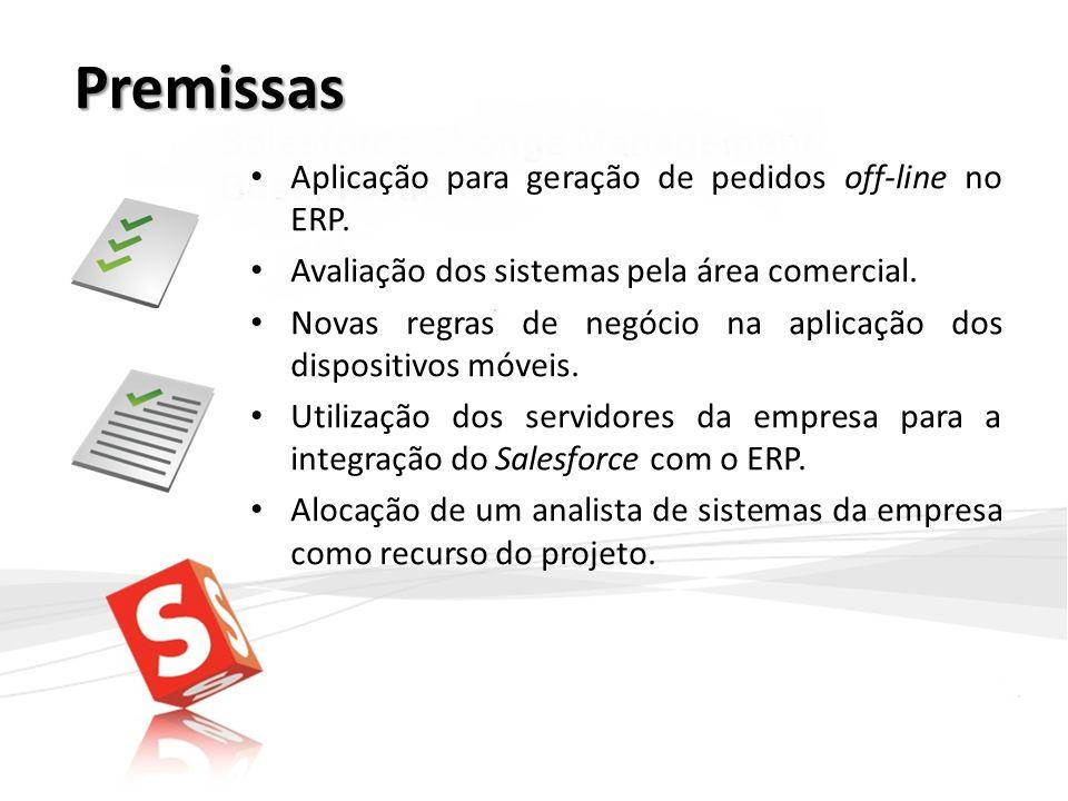 Premissas Aplicação para geração de pedidos off-line no ERP.