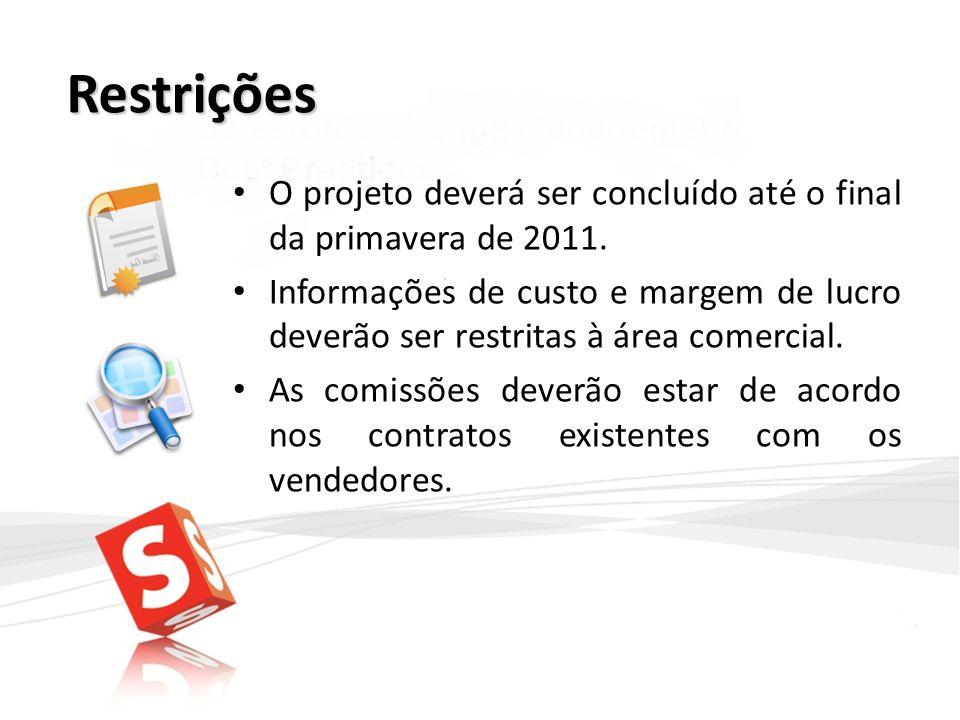 Restrições O projeto deverá ser concluído até o final da primavera de 2011.