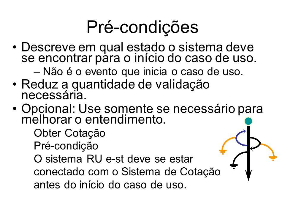 Pré-condições Descreve em qual estado o sistema deve se encontrar para o início do caso de uso. Não é o evento que inicia o caso de uso.