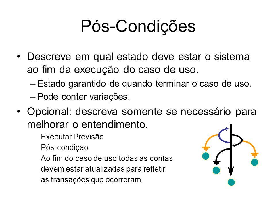 Pós-Condições Descreve em qual estado deve estar o sistema ao fim da execução do caso de uso. Estado garantido de quando terminar o caso de uso.
