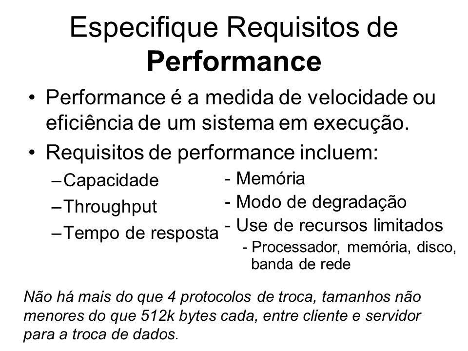 Especifique Requisitos de Performance