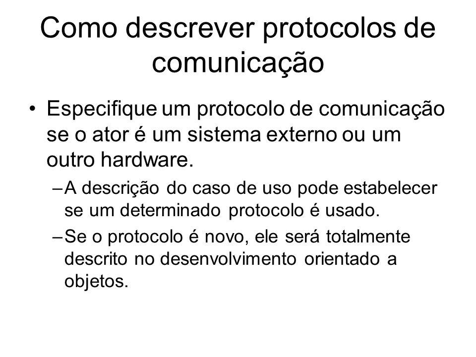 Como descrever protocolos de comunicação