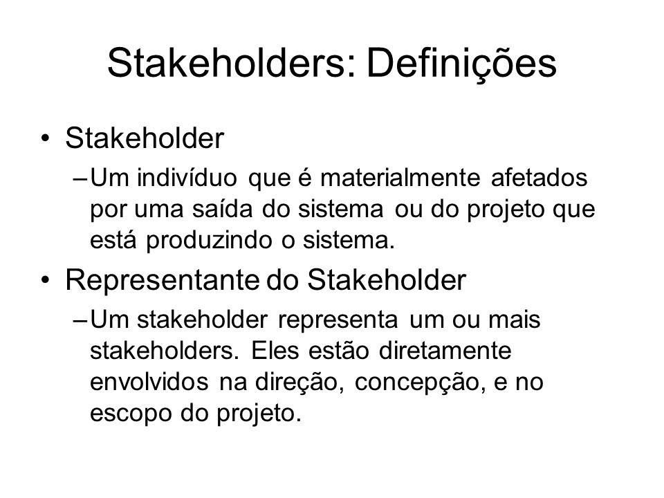 Stakeholders: Definições