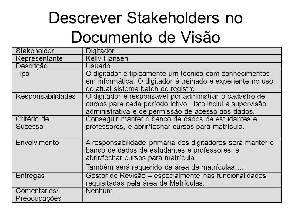 Descrever Stakeholders no Documento de Visão