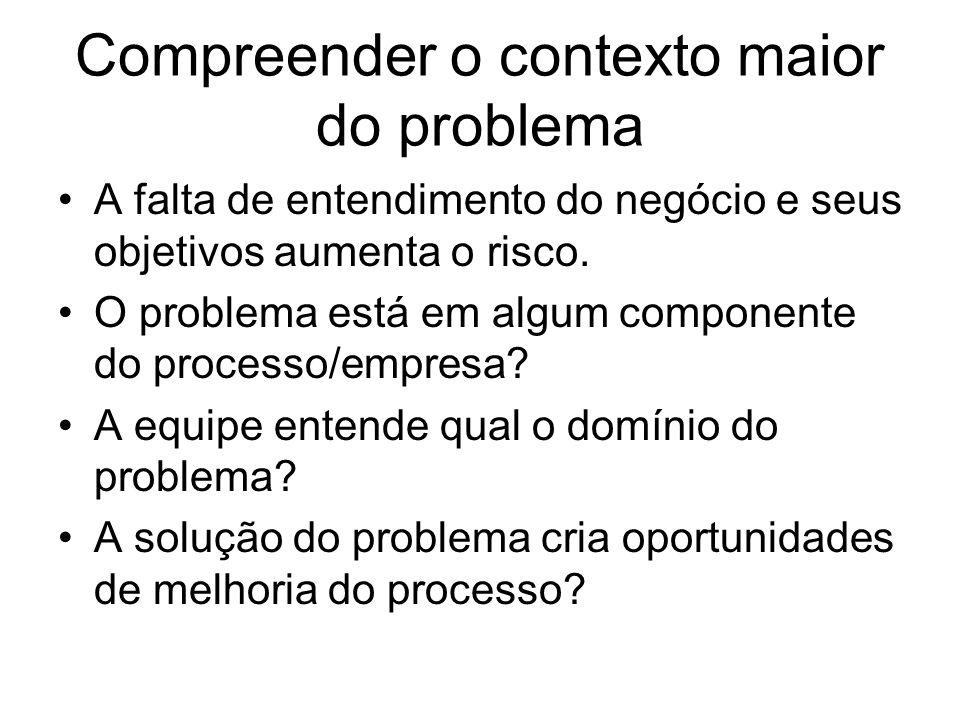 Compreender o contexto maior do problema