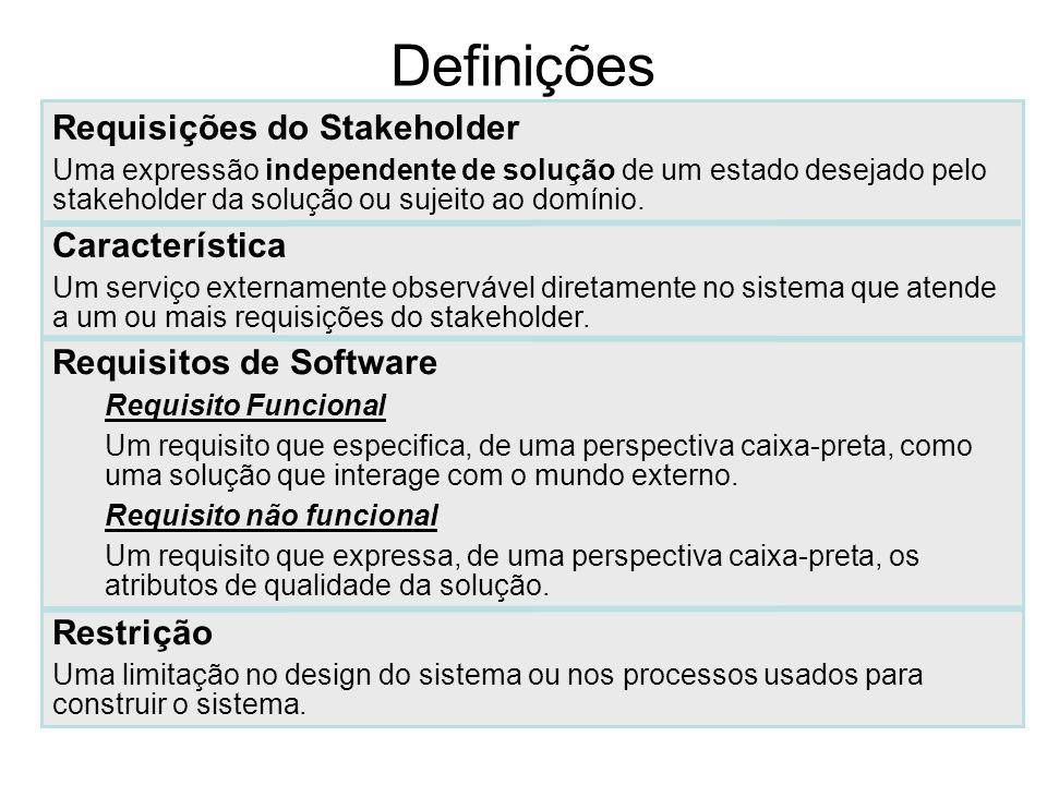 Definições Requisições do Stakeholder Característica