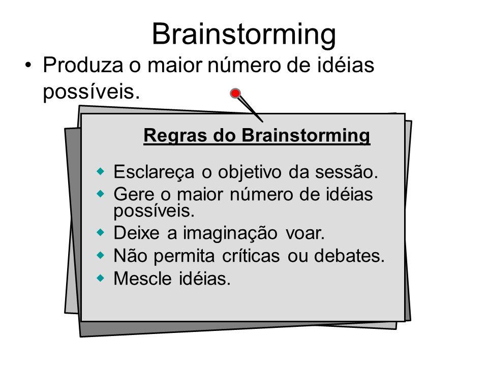Brainstorming Produza o maior número de idéias possíveis.