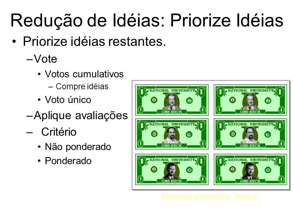 Redução de Idéias: Priorize Idéias