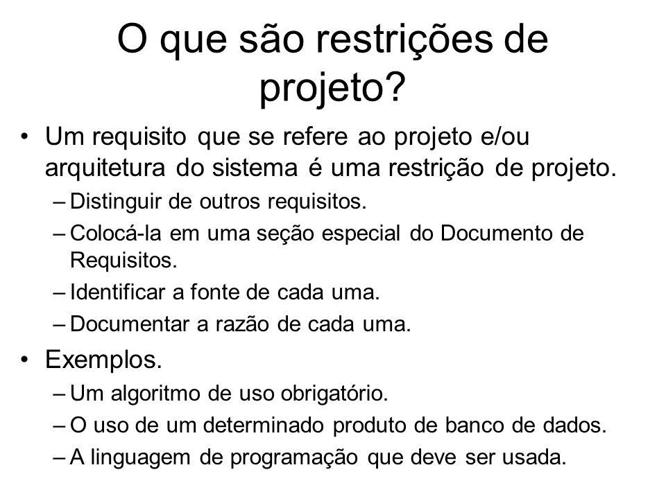 O que são restrições de projeto