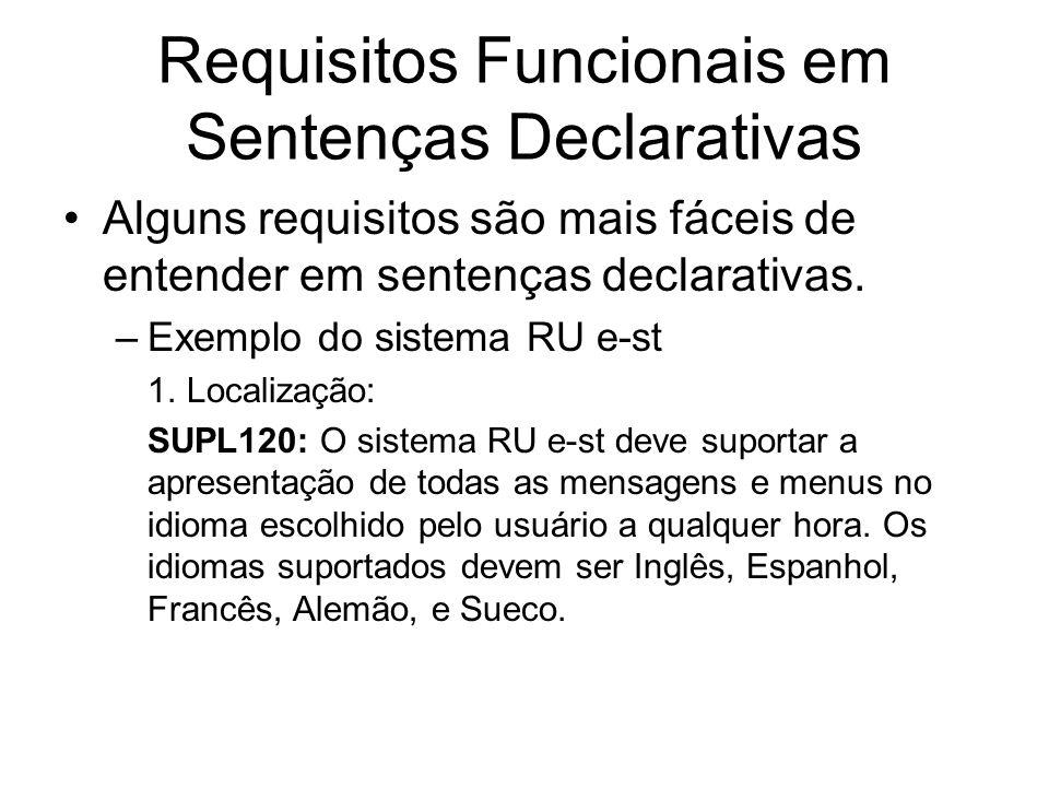 Requisitos Funcionais em Sentenças Declarativas