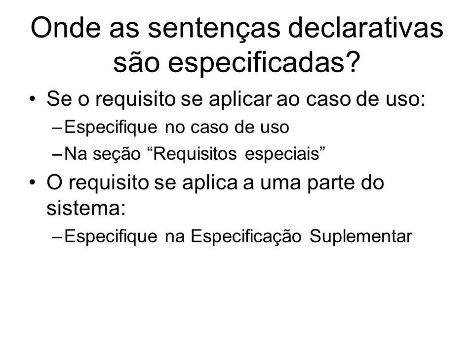 Onde as sentenças declarativas são especificadas