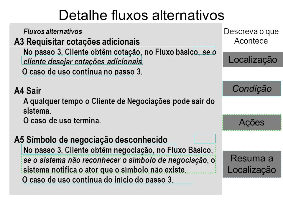 Detalhe fluxos alternativos