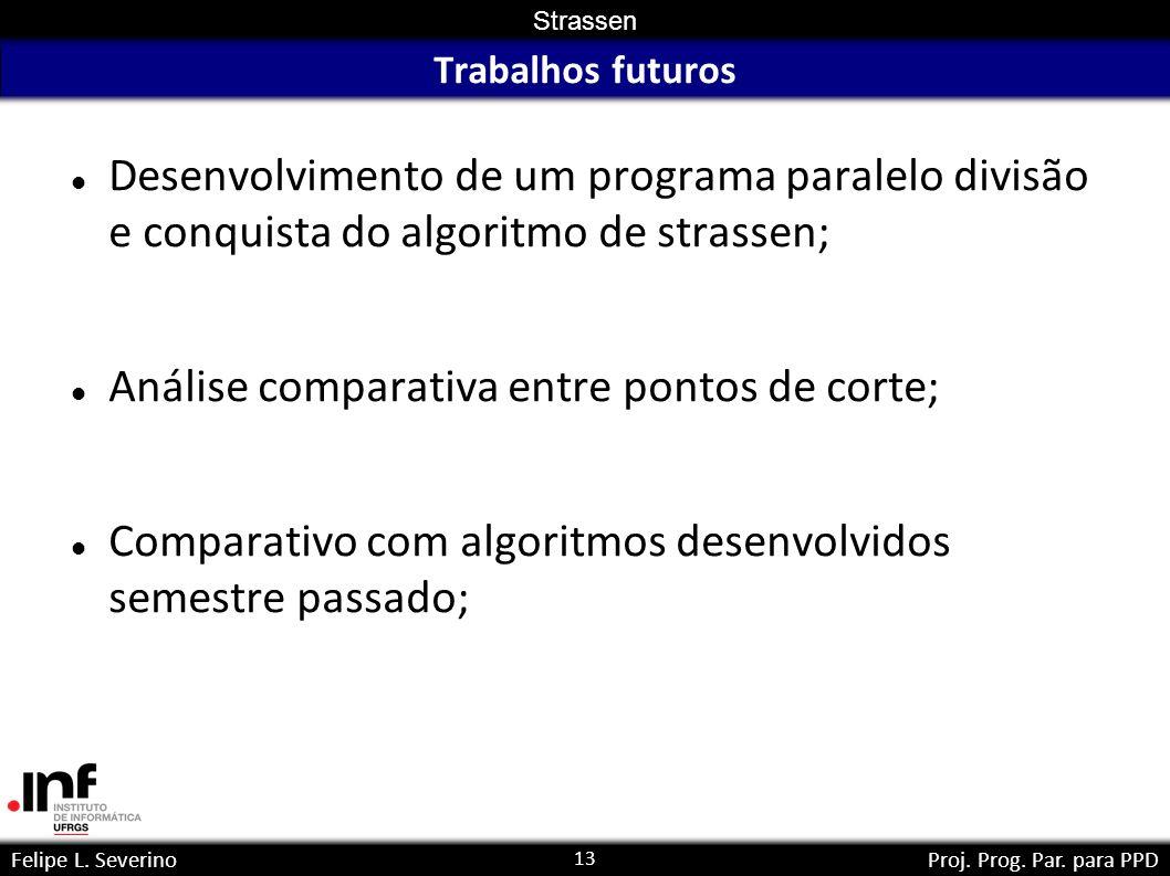 Análise comparativa entre pontos de corte;