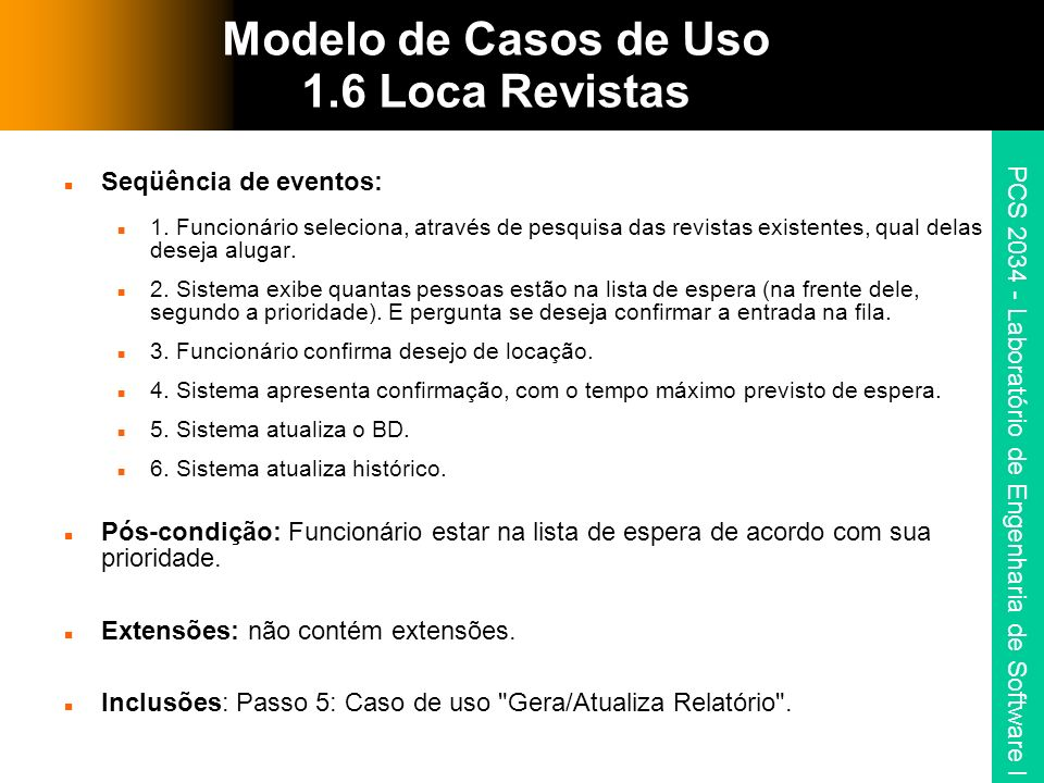 Modelo de Casos de Uso 1.6 Loca Revistas