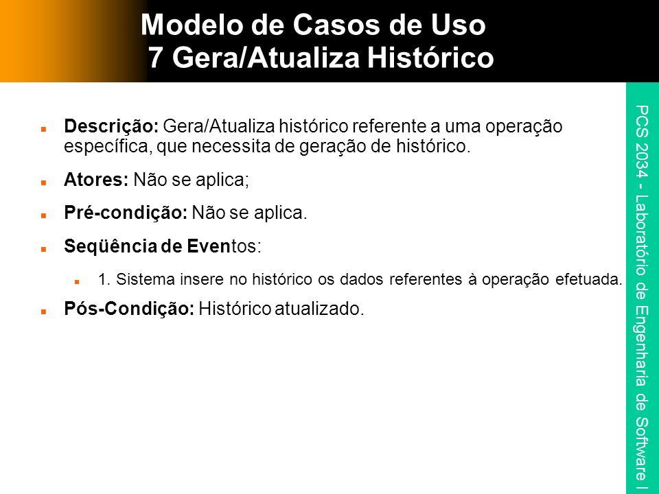 Modelo de Casos de Uso 7 Gera/Atualiza Histórico
