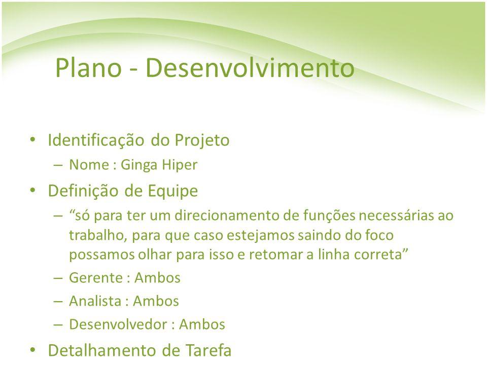 Plano - Desenvolvimento