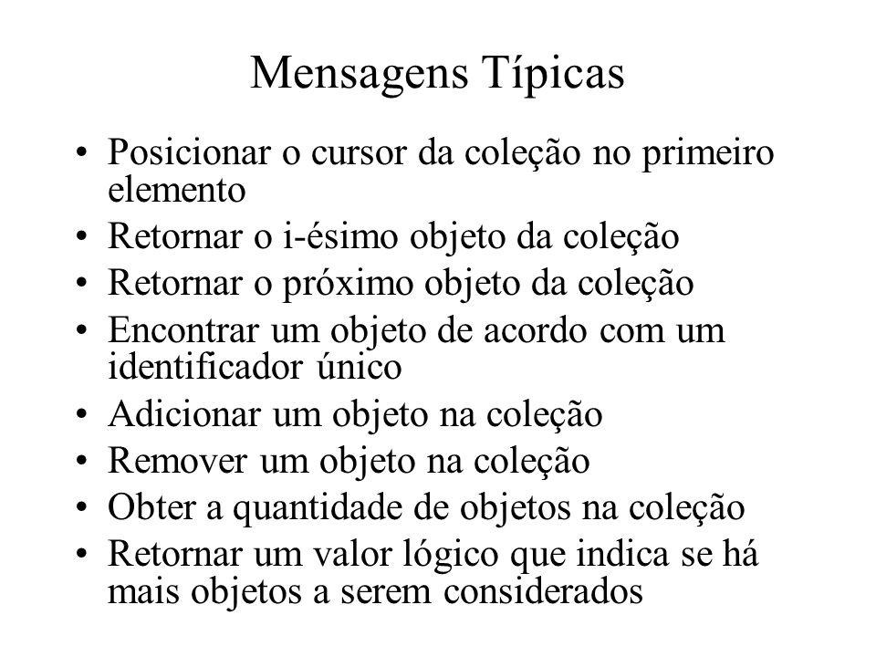 Mensagens Típicas Posicionar o cursor da coleção no primeiro elemento