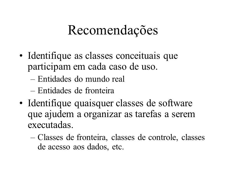 Recomendações Identifique as classes conceituais que participam em cada caso de uso. Entidades do mundo real.