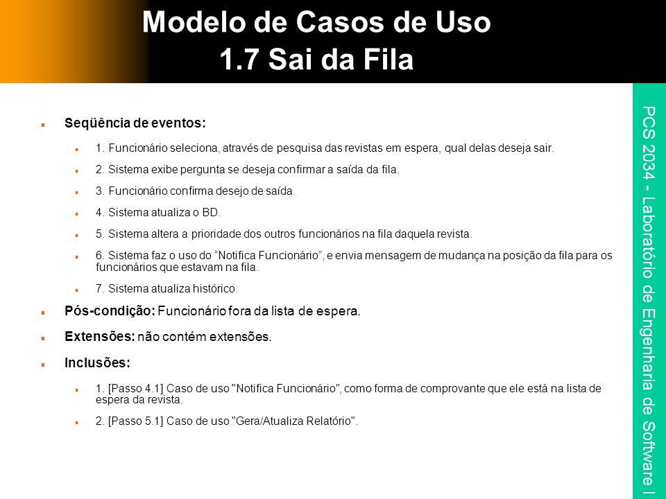 Modelo de Casos de Uso 1.7 Sai da Fila
