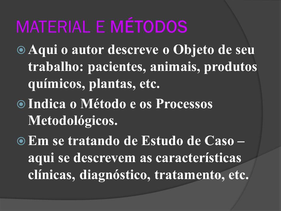 MATERIAL E MÉTODOS Aqui o autor descreve o Objeto de seu trabalho: pacientes, animais, produtos químicos, plantas, etc.