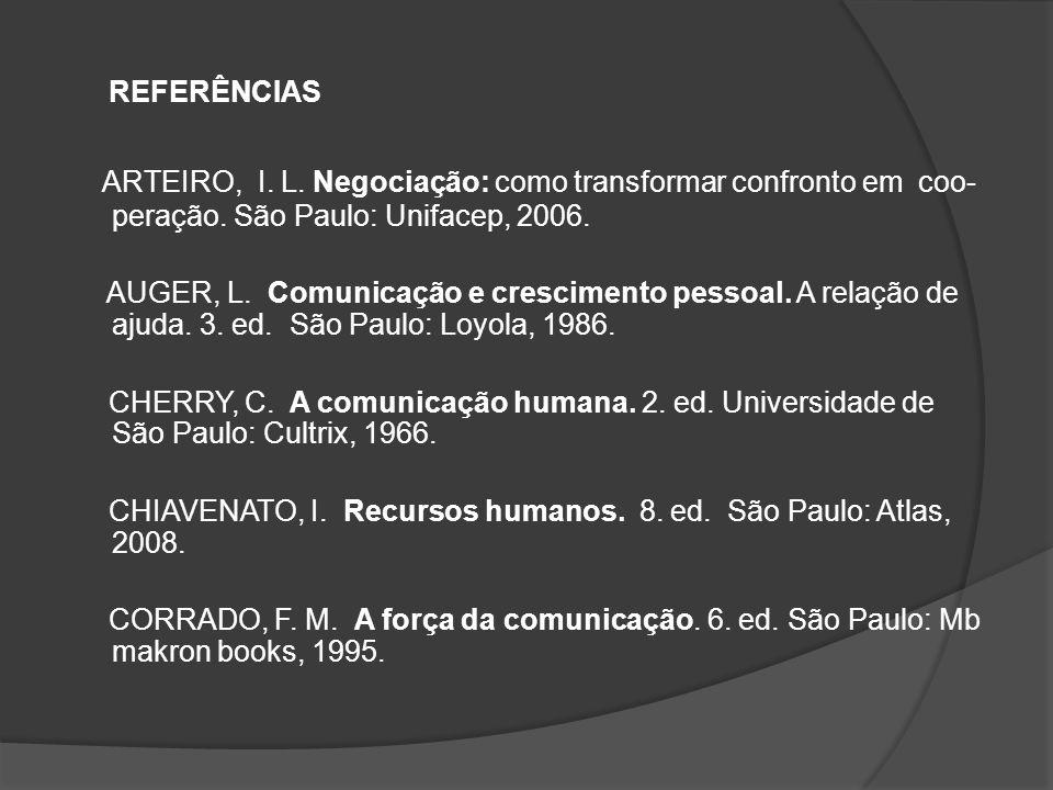 REFERÊNCIAS ARTEIRO, I. L. Negociação: como transformar confronto em coo- peração. São Paulo: Unifacep, 2006.