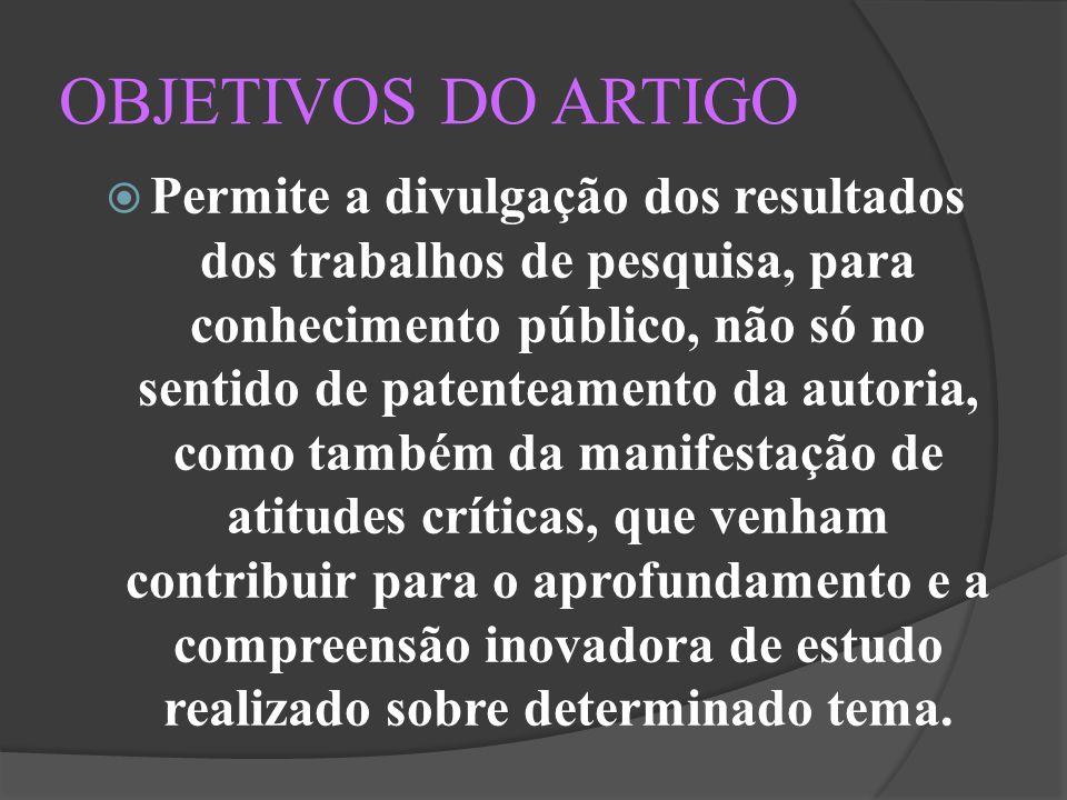 OBJETIVOS DO ARTIGO