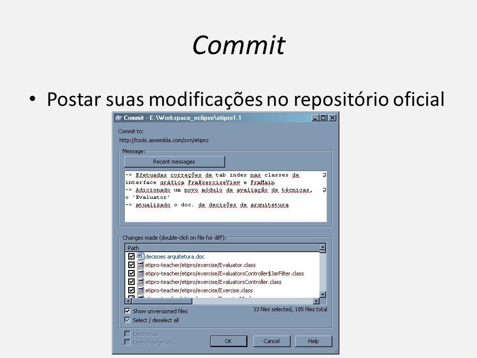 Commit Postar suas modificações no repositório oficial