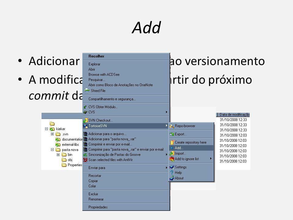 Add Adicionar arquivos/pastas ao versionamento