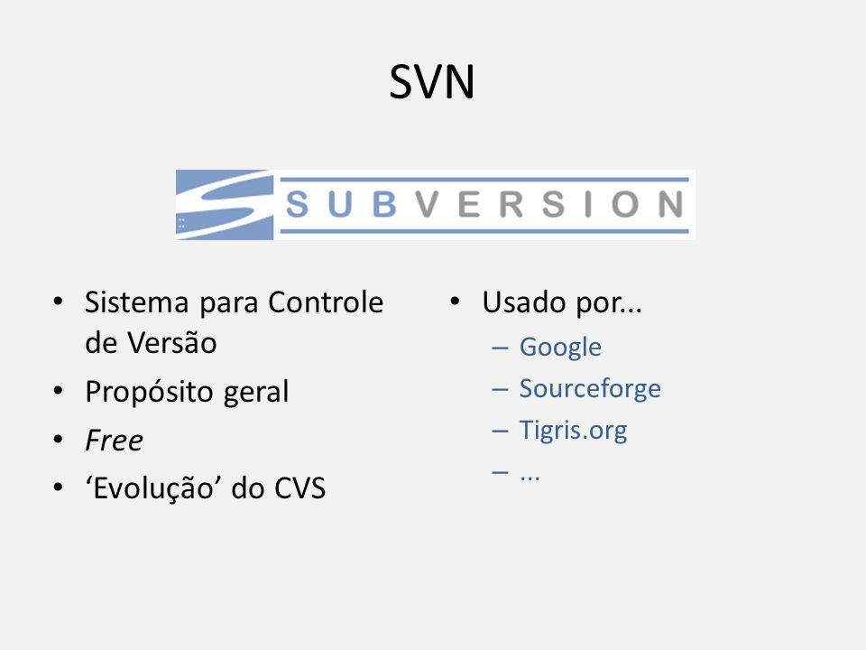 SVN Sistema para Controle de Versão Propósito geral Free