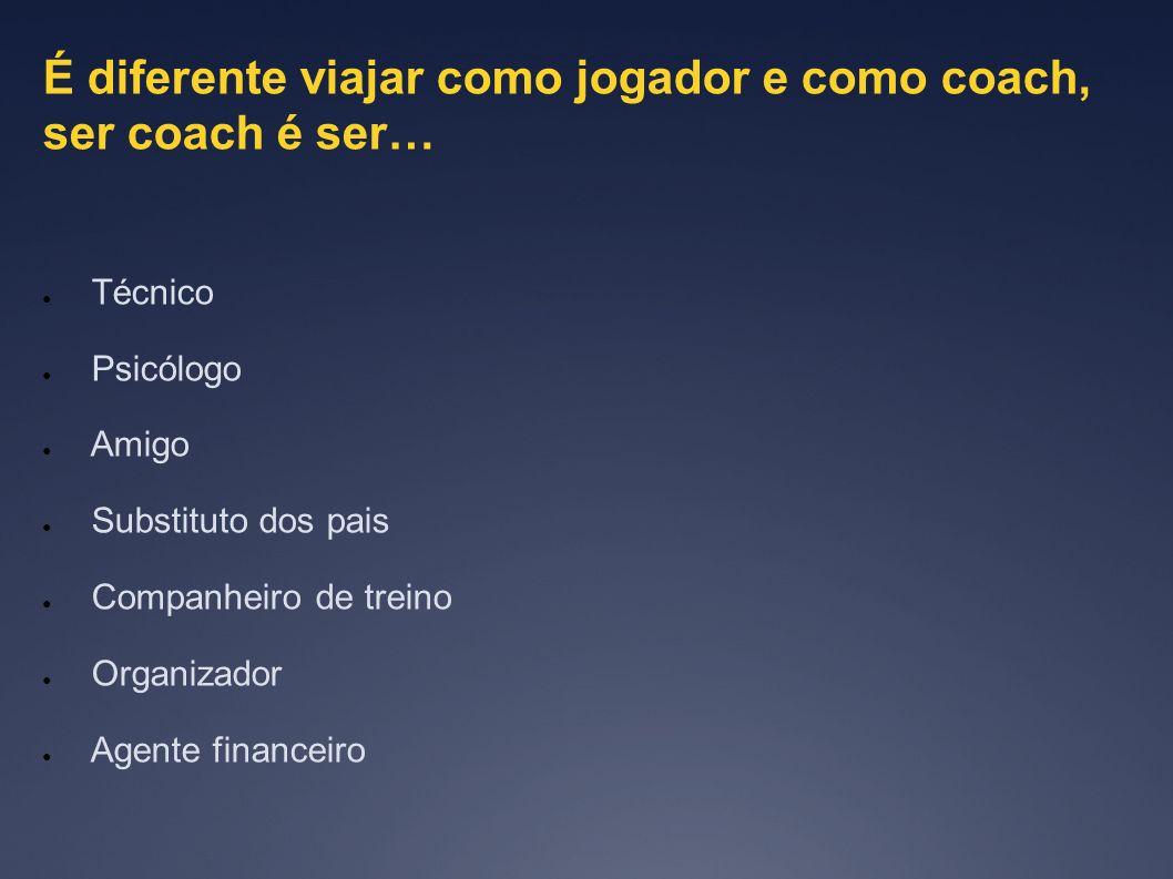 É diferente viajar como jogador e como coach, ser coach é ser…