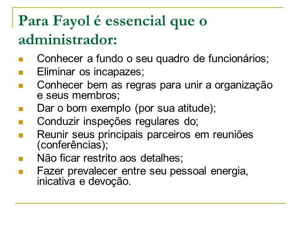 Para Fayol é essencial que o administrador: