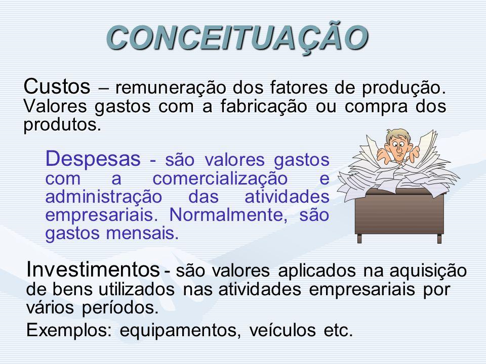 CONCEITUAÇÃO Custos – remuneração dos fatores de produção. Valores gastos com a fabricação ou compra dos produtos.