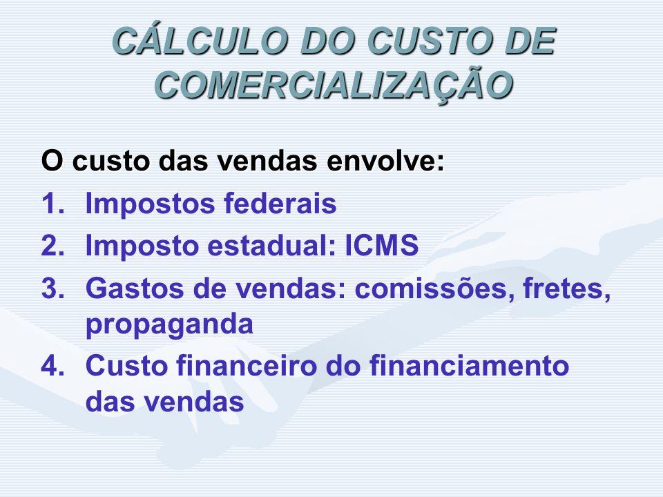 CÁLCULO DO CUSTO DE COMERCIALIZAÇÃO