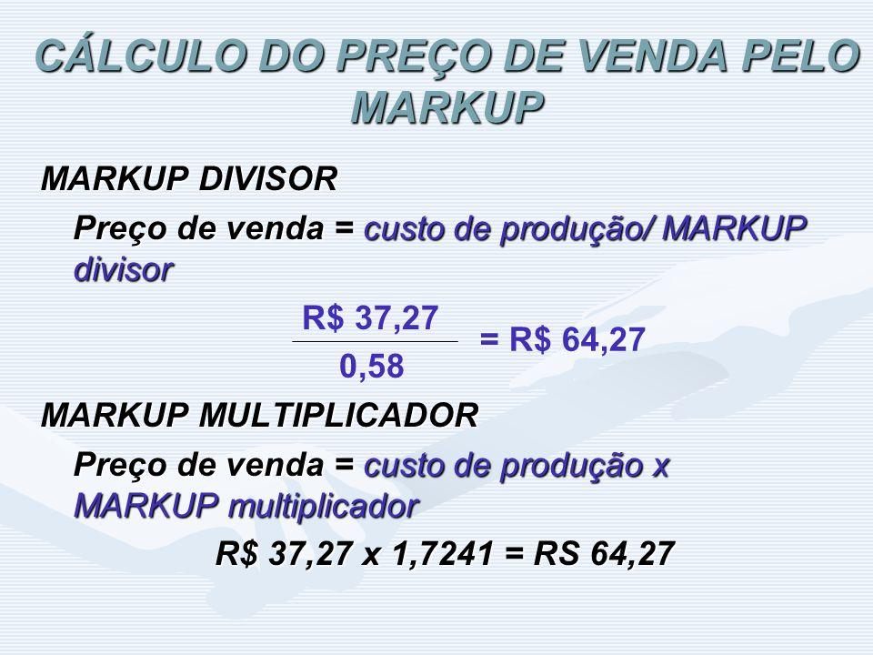 CÁLCULO DO PREÇO DE VENDA PELO MARKUP