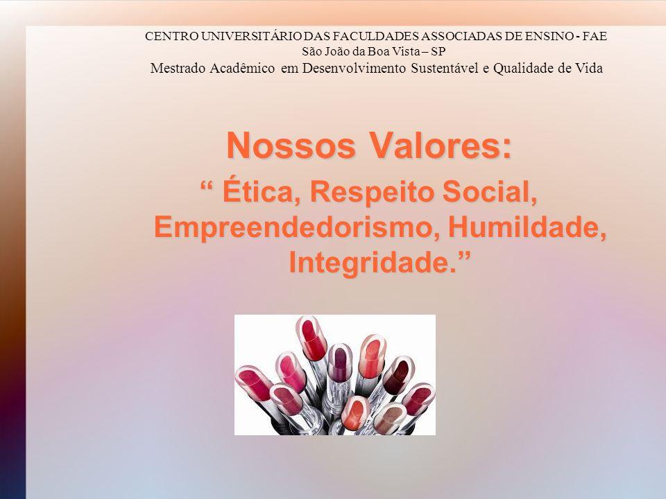 Ética, Respeito Social, Empreendedorismo, Humildade, Integridade.