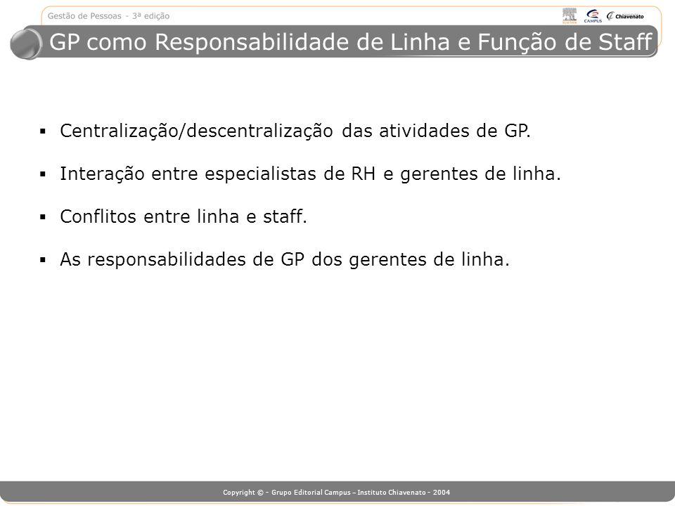 GP como Responsabilidade de Linha e Função de Staff